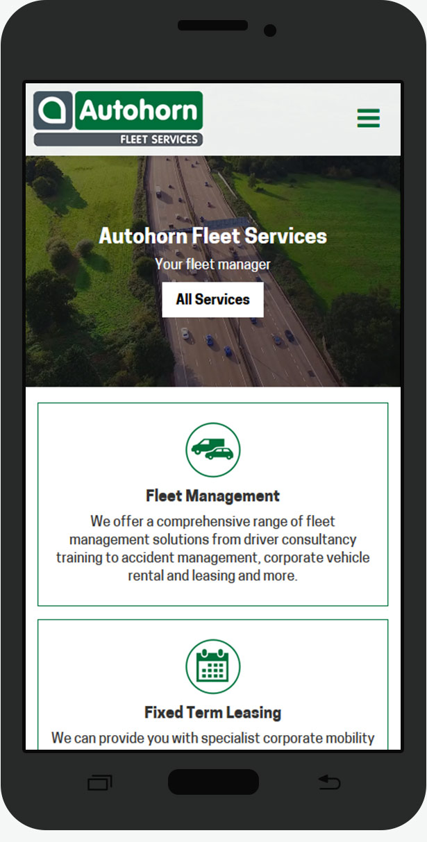 autohorn mobile website design